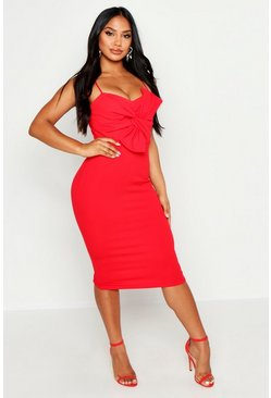 Womens Red Strappy Twist Front Crepe Midi Dress