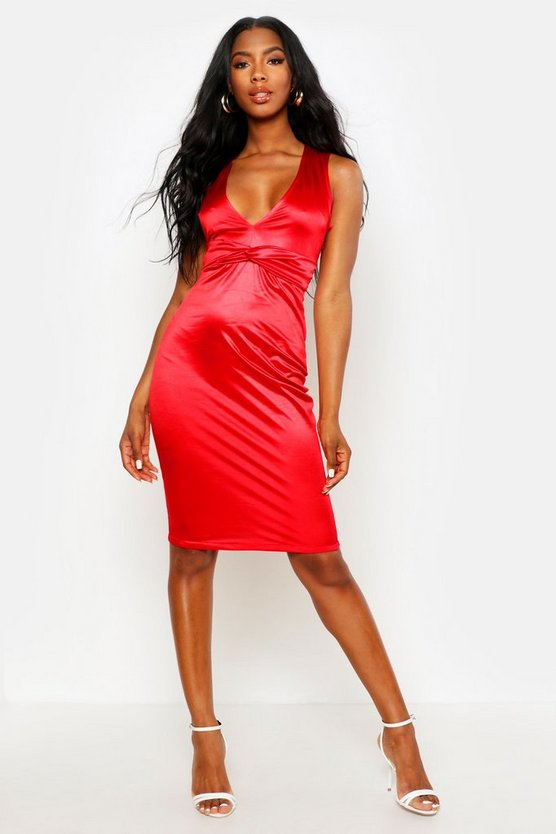 Womens Red Plunge Front Twist Detail Midi Dress