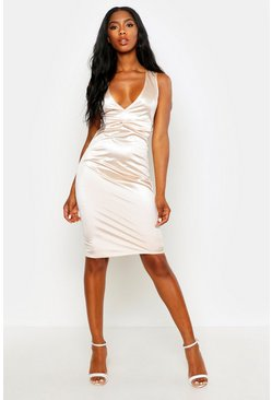 Womens Stone Plunge Front Twist Detail Midi Dress