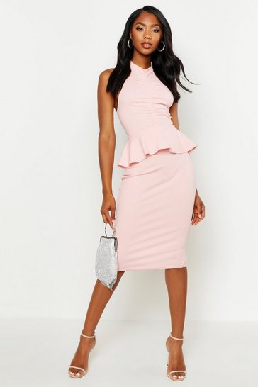 Womens Pink High Neck Ruched Peplum Midi Dress