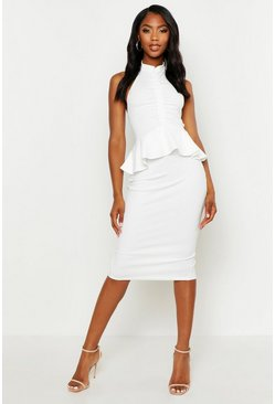 Womens White High Neck Ruched Peplum Midi Dress