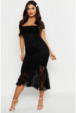 Black Cap Sleeve Frill Hem Lace Midi Dress