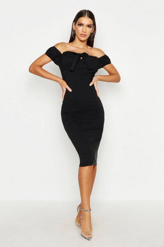 Womens Black Off The Shoulder Ruched Cup Midi Dress