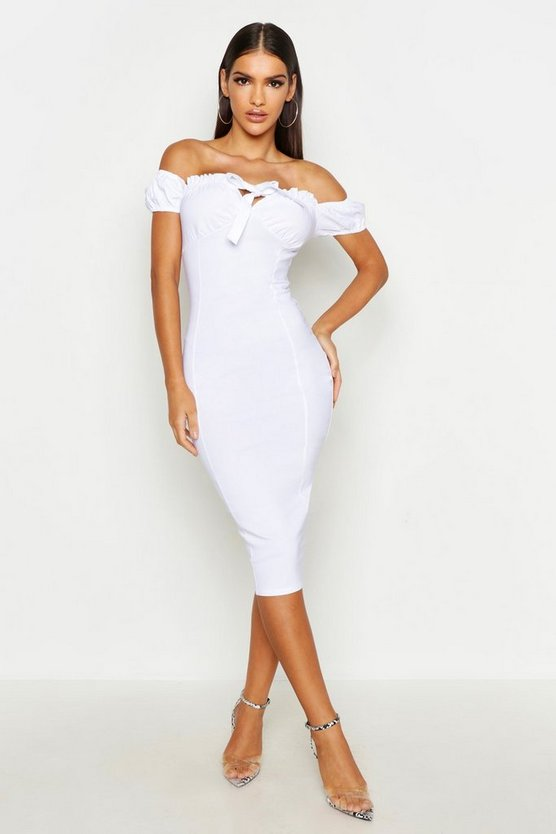 Womens White Off The Shoulder Ruched Cup Midi Dress