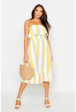 Womens Yellow Bandeau Stripe Frill Hem Midi Skater Dress