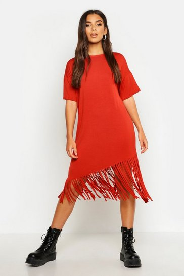 Womens Terracotta Tassel Hem T Shirt Dress