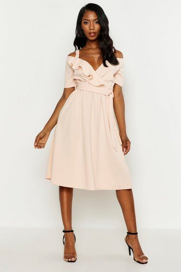 Blush Cold Shoulder Ruffle Belted Midi Dress
