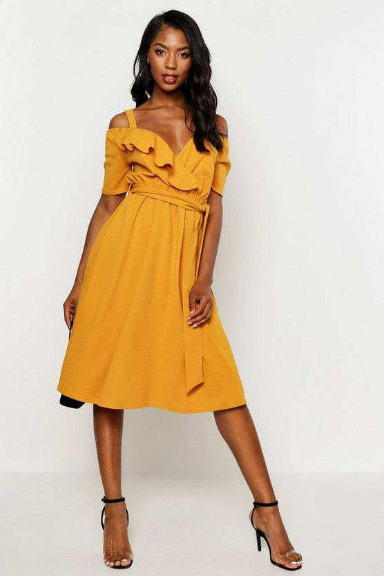 Cold Shoulder Ruffle Belted Midi Dress Cold Shoulder Ruffle Belted Midi Dress by Boohoo