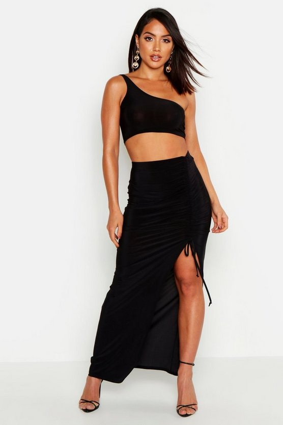 Womens Black Slinky Ruched Detail Split Maxi Skirt