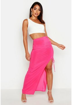 Womens Hot pink Slinky Ruched Detail Split Maxi Skirt