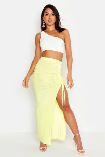 Womens Lemon Slinky Ruched Detail Split Maxi Skirt