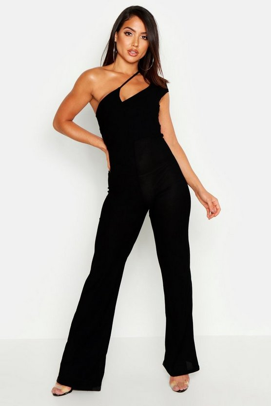 Womens Black Cut Out Strappy One Shoulder Jumpsuit