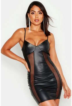 Womens Black Faux Leather Mesh Insert Cupped Bodycon Mini Dress