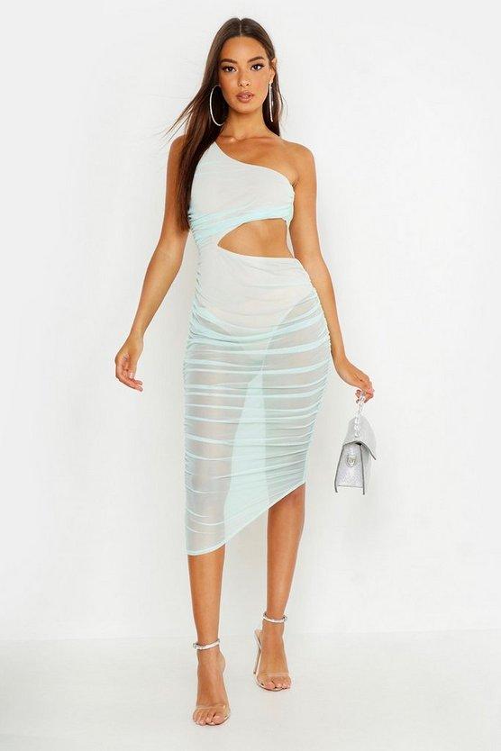 One Shoulder Ruched Midaxi Dress