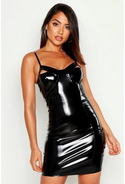 Womens Black Faux Leather Cut Out Cup Bodycon Mini Dress