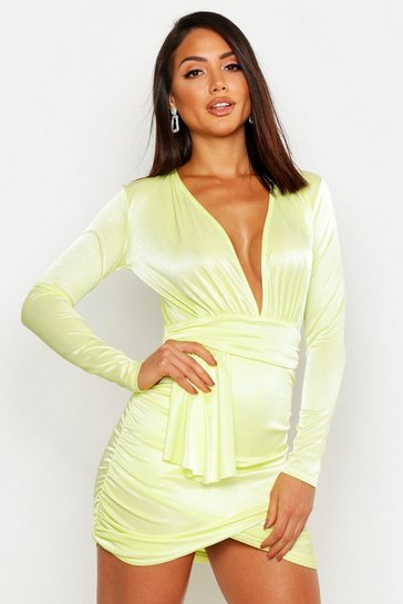 Womens Apricot Plunge Wrap Tie Bodycon Mini Dress