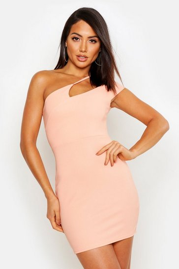 Womens Apricot Rib Strappy Cut Out One Shoulder Bodycon Mini Dress