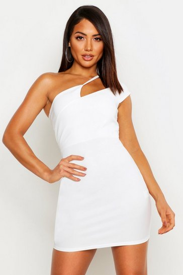 Womens White Rib Strappy Cut Out One Shoulder Bodycon Mini Dress
