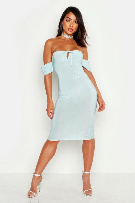 Womens Mint Slinky Bardot Cup Detail Bodycon Midi Dress
