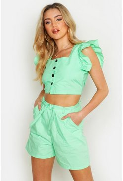 Womens Mint Button Detail Frill Sleeve Top