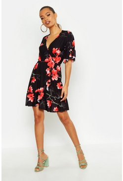 Womens Black Large Scale Floral Wrap Tea Dress