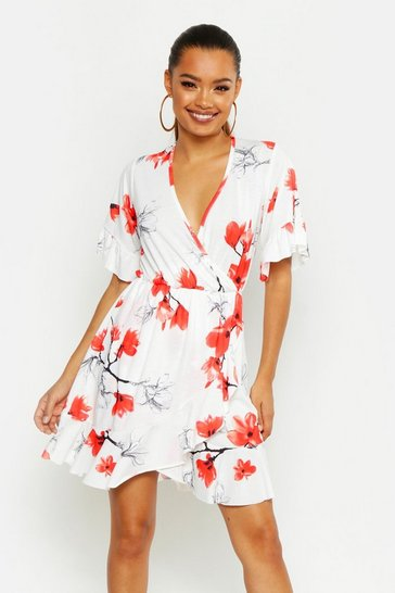 Womens White Large Scale Floral Wrap Tea Dress