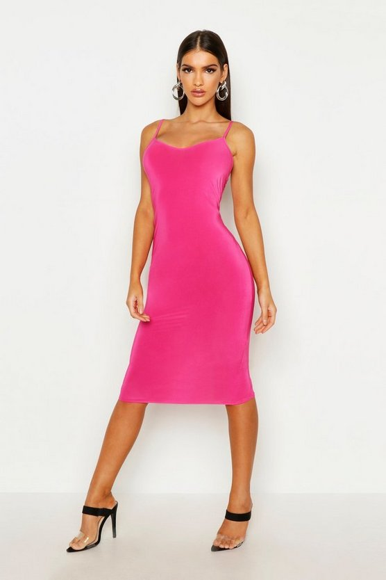 Womens Hot pink Ruched Open Back Midi Bodycon Dress