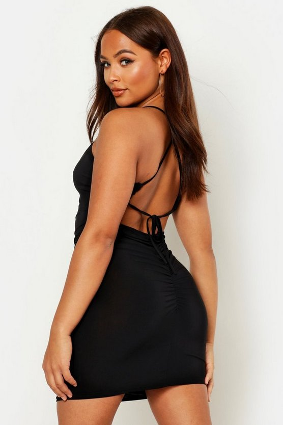 Womens Black Strappy Ruched Front & Back Mini Dress