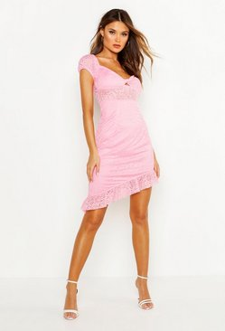 Pink Lace Off Shoulder Twist Front Dress