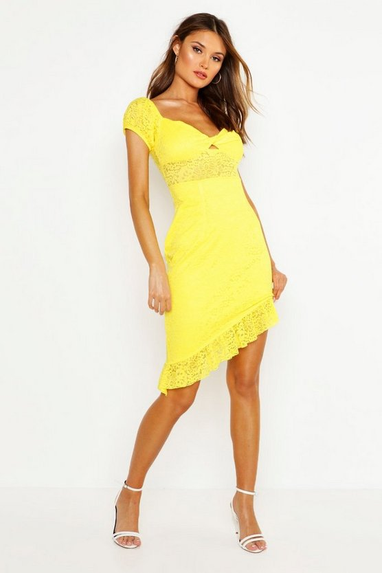 Lace Off Shoulder Twist Front Dress by Boohoo