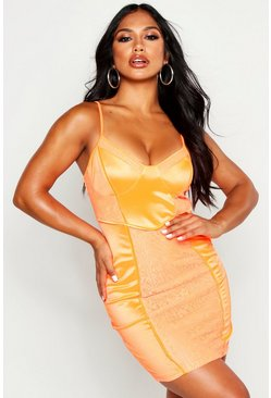 Womens Neon-orange Neon Lace Bodycon Dress