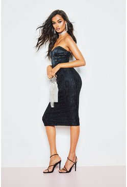 Womens Black Lace Bandeau Dress