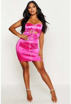 Womens Pink Satin Bandeau Zip Mini Dress