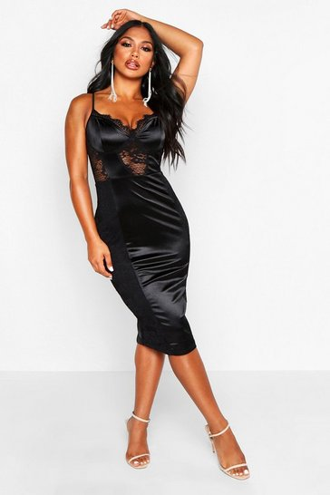 Womens Black Lace Midi Satin Dress