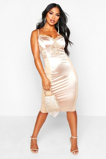 Womens Gold Lace Midi Satin Dress