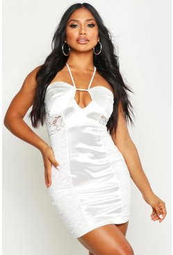 Womens White Lace Satin Mini Halterneck Dress