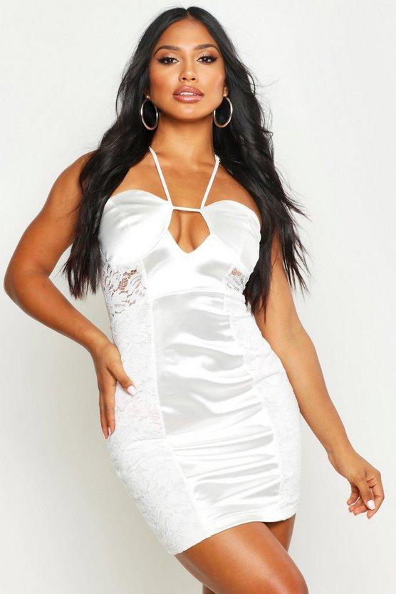 Lace Satin Mini Halterneck Dress by Boohoo