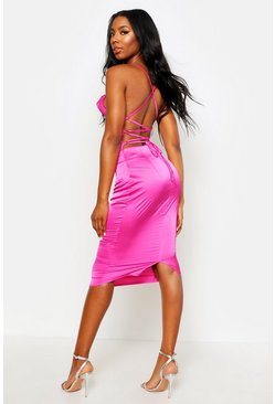 Womens Pink Satin Cowl Midi Dress