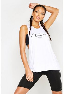 Womens White Fit Woman Sport Slogan Vest