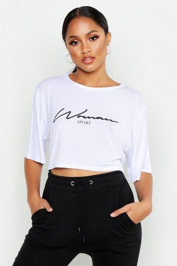 Womens White Fit Woman Sport Slogan Crop T-Shirt