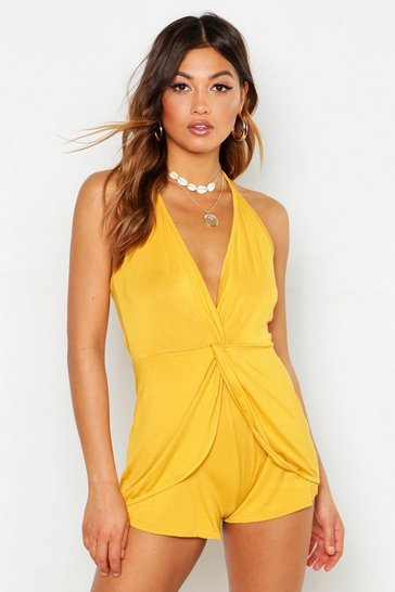 Womens Mustard Drape Front Halter Neck Playsuit
