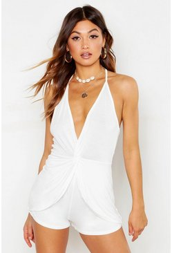 Womens White Drape Front Halter Neck Playsuit