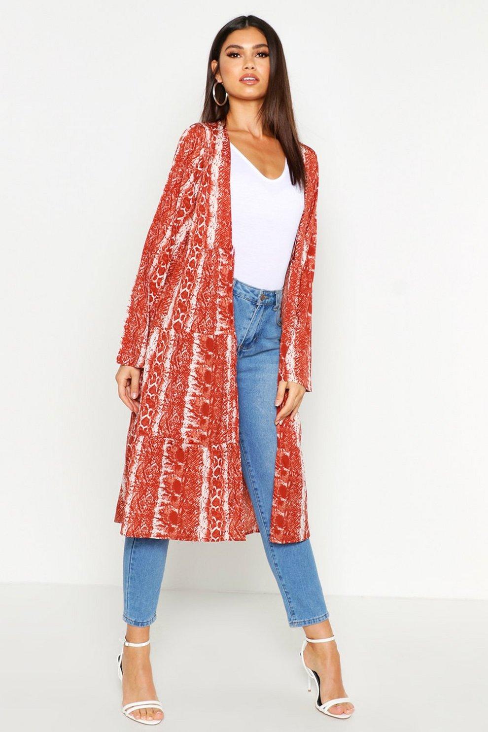 cb386e040dff Snake Print Tiered Kimono | Boohoo