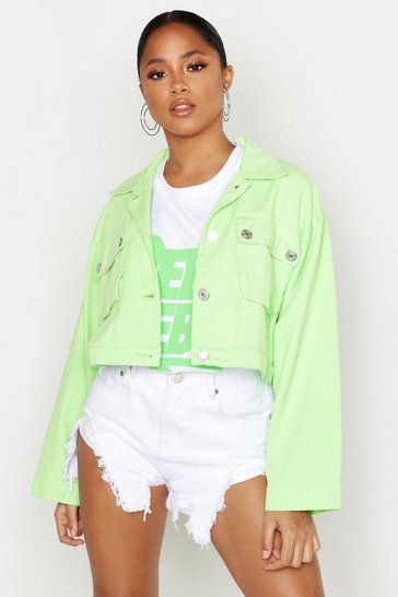 Womens Lime Canvas Oversized Pocket Front Utility Jacket
