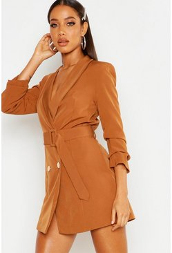 Toffee Belted Button Blazer Dress