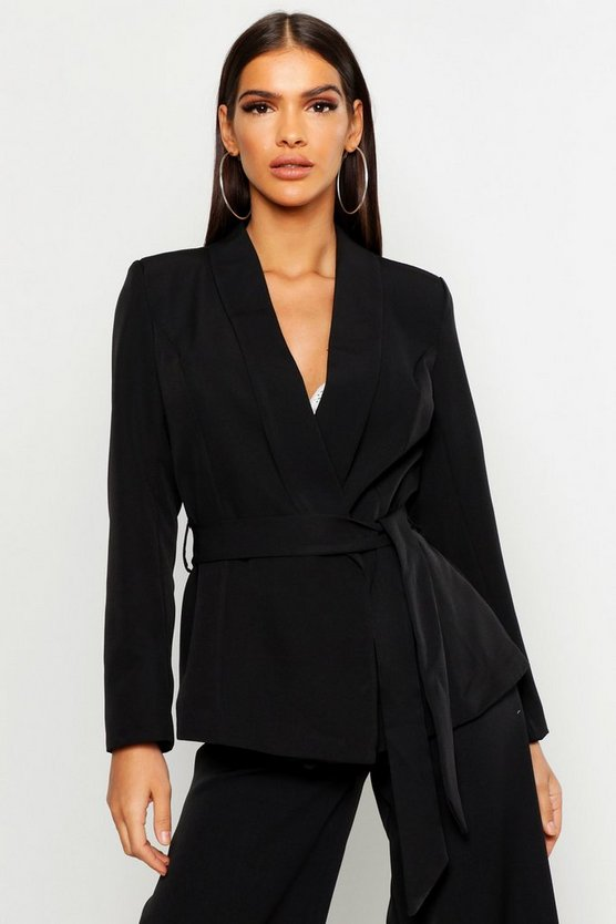 Black Belted Tailored Blazer