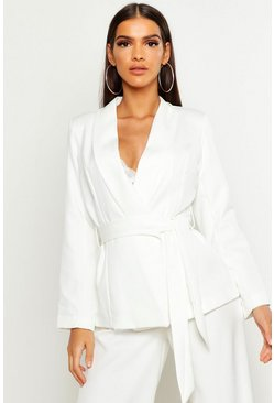 Womens Ivory Belted Tailored Blazer
