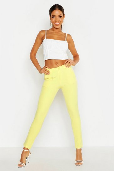 Womens Yellow Tapered Tailored Trouser