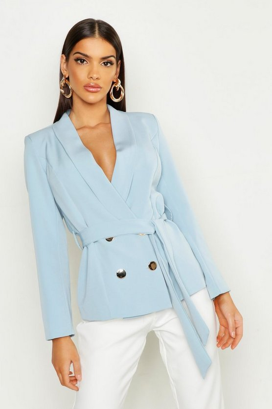 Womens Blue Belted Button Tailored Blazer