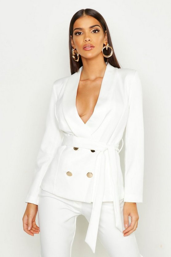 Ivory Belted Button Tailored Blazer